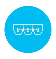 Orthodontic braces line icon vector