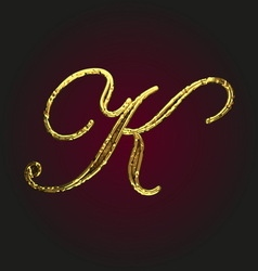 K golden letter vector