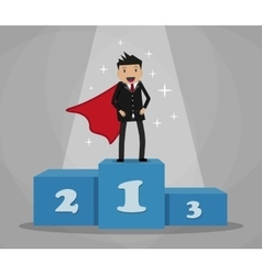 Super businessman standing on podium vector
