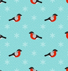Winter seamless background with bullfinch vector