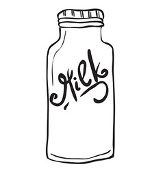 Simple black and white milk bottle vector