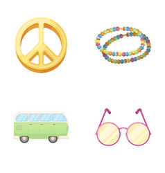 a hippie sign beads a bus round glasseshippy vector image