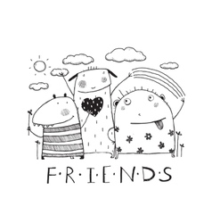 Adorable monsters friends outline black and white vector image vector image