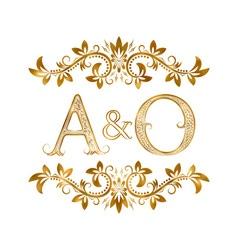 Ao vintage initials logo symbol letters a o vector