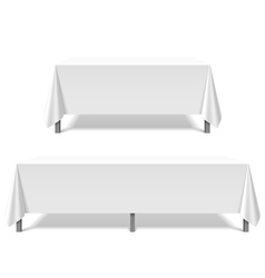 Big tables covered with white tablecloth vector