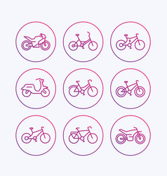 bikes icons bicycle bike cycling motorcycle vector image vector image