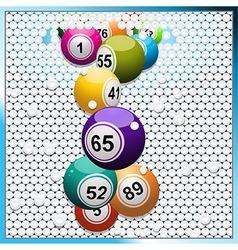 Bingo balls breaking a white 3d circular tiles vector