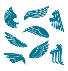 Blue bird wings heraldic design elements vector image