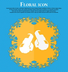 boxing gloves icon Floral flat design on a blue vector image