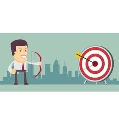 Businessman aiming target vector