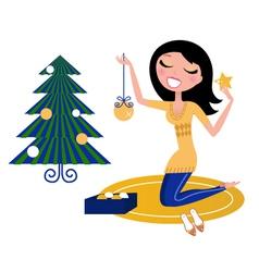 christmas tree woman vector image vector image