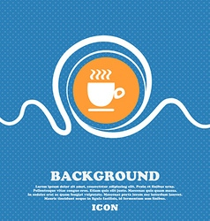 Coffee cup sign blue and white abstract background vector