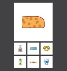 Flat icon meal set of cheddar slice yogurt vector