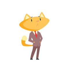 Funny businessman fox in a suit standing cute vector