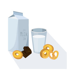 Glass of milk with pretzel white vector