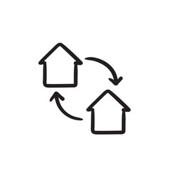 House exchange sketch icon vector