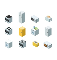 Isometric set of household appliances icon 3d flat vector
