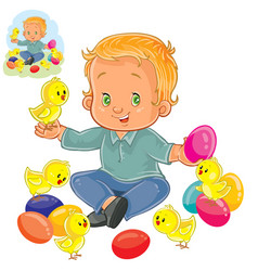 little boy playing with decorated easter vector image vector image