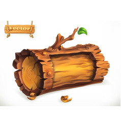 Log wooden sign 3d icon vector