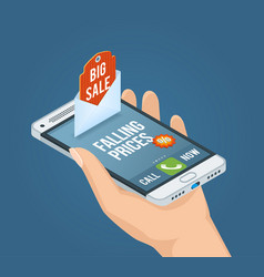 mobile marketing isometric concept vector image vector image