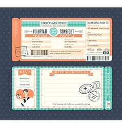 Pastel Retro Boarding Pass Ticket Wedding card vector image