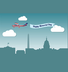 Plane with banner happy memorial day vector
