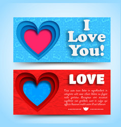 romantic greeting horizontal banners vector image vector image