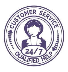 Round icon for non stop customer service on white vector