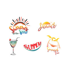 Summer lettering set with sun cocktail vector