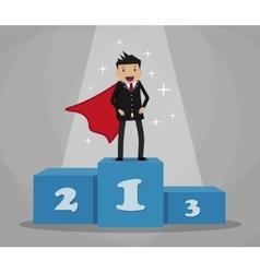 Super businessman standing on podium vector