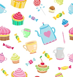 Tea time seamless vector