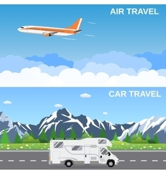 Travel panorama banners vector
