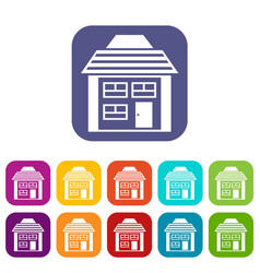 Two-storey house with sloping roof icons set vector