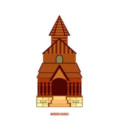 Urnes stave church part of unesco norway vector