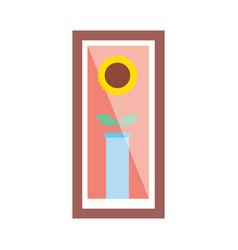 wooden frame with flower in vase decoration vector image