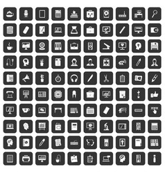 100 work space icons set black vector