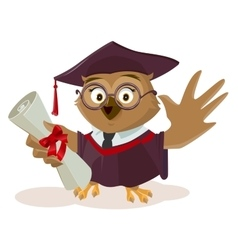 Owl graduate holding diploma vector