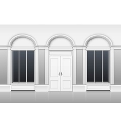Shop building with ftront glass windows showcase vector