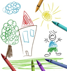 Crayon set with kid drawing vector image