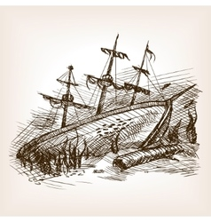 Wrecked ancient sailing ship sketch vector