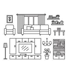 Living room line vector