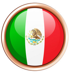 mexico flag on round frame vector image
