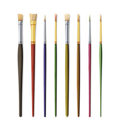 Realistic artist paintbrushes set paint brush set vector