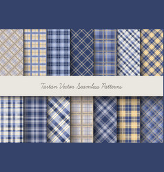 Tartan seamless patterns in blue-yellow colors vector