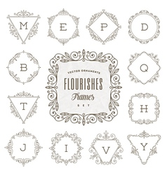 Flourishes calligraphic elegant ornament frames vector
