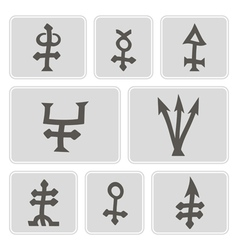 Monochrome icons with alchemical symbols vector