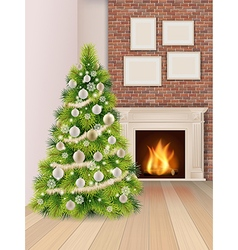 Christmas interior with christmas tree and vector