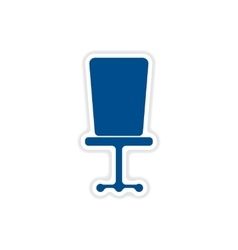 Paper sticker on white background office chair vector