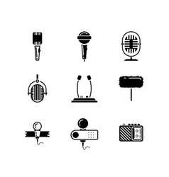 Microphone black icons set vector