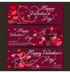 Happy valentines day banners shiny hearts and vector